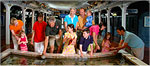 group of people at touch tank